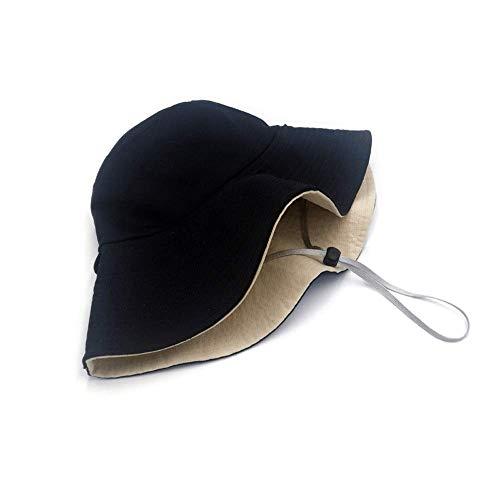 Vinteen Sombrero de Pescador Femenino Verano versión Coreana Doble Cara Cubierta de Color sólido Cara Borde Grande Gorra Sombrero japonés Ocio Sombra Salvaje Protector Solar Sombrero Gorra