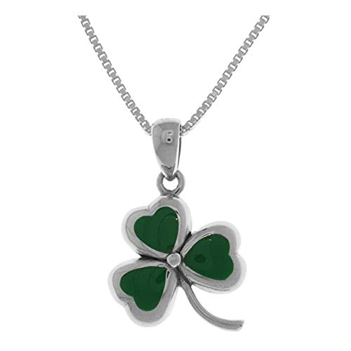 LKYH Trends Sterling Silver Celtic Clover Shamrock Pendant Necklace 18' Birthday Gifts