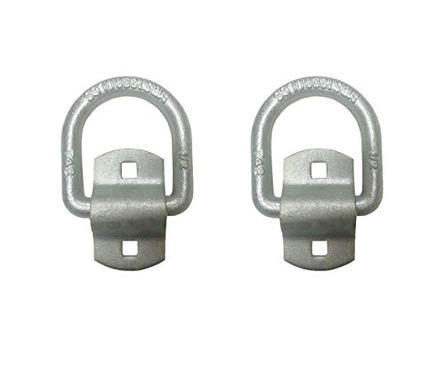 Mega Cargo Control 1/2' - Bolt-On Heavy Duty Tie-Down D Ring with Mounting Clips for Flatbed Truck, Trailer, & Motorcycle/Sport Equipment (2 - Pack)
