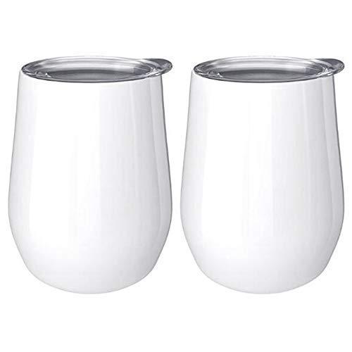 KTZAJO 2 unids 12 oz acero cáscara de huevo café doble capa aislamiento al vacío taza bebida con tapa vino café bebida