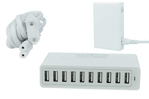 LEDLUX CV8002 Cargador USB de pared 5 V Smart carga inteligente color blanco (10 puertos USB 10 A)