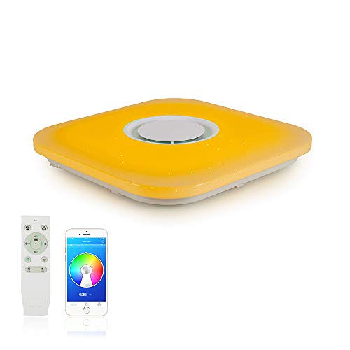 Firebird Led-plafondverlichting met bluetooth-luidspreker, 3000 – 6500 K + RGB instelbaar, app en 2,4 G afstandsbediening