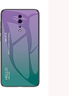 OPPO Reno Z Case,Tempered Glass Back Cover with Soft TPU Bumper,Anti-Scratch Shockproof Case for OPPO Reno Z-Purple