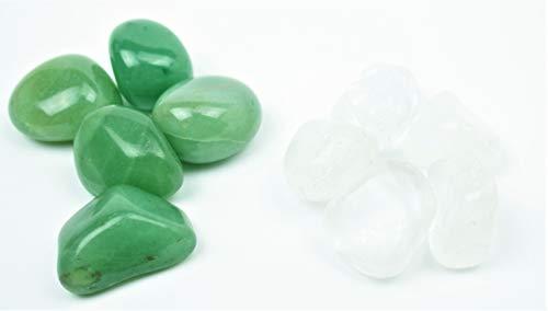 Steinfixx® - Premium Edelsteinwasser Set HAUTPFLEGE   Mischung zur Herstellung von Edelsteinwasser   Aventurin und Bergkristall   180 Gramm getrommelte Heilsteine   Wasserbelebung   Edelsteinelixier