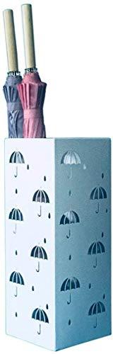 JKCKHA Soporte de Hierro Forjado Paraguas, Hogar Corredor Tipo Cuadrado Blanco Paraguas de la Cuchara (55 * 18 * 18 cm) Fácil de almacenar
