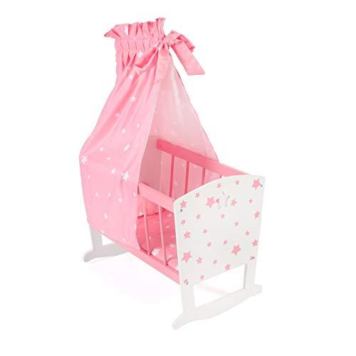 Bayer Chic 2000 – 515 88 – Culla per bambole fino a circa 46 cm, lettino per bambole, mobili per bambole, stelle rosa