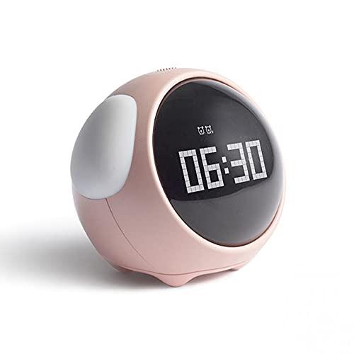 Tiempo para Despertar el Reloj de Alarma para niños, Entrenador de sueño Infantil, Control táctil y Snoozing con Relojes Recargables de 1500mAh, niños despiertos, máquina de Sonido de sueño,Rosado