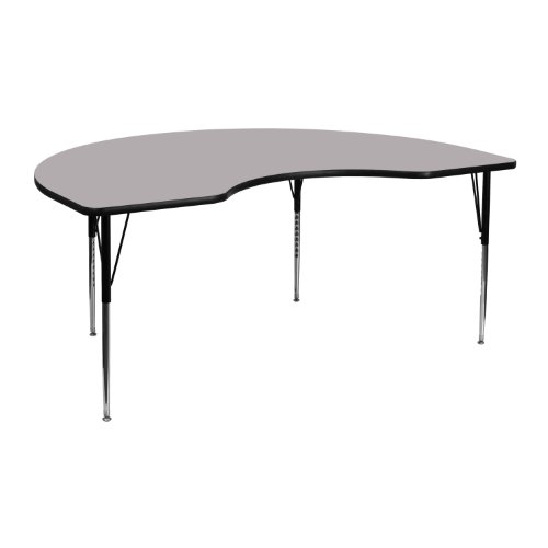 Flash Furniture 48''W x 72''L Kidney Grey Thermal Laminate Activity Table - Standard Height Adjustable Legs