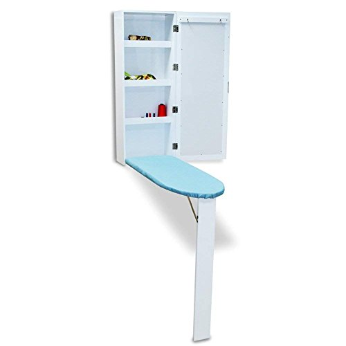 OfficeWinner Wall Mount Ironing Board Cabinet MDF wood with Mirror and Storage Shelves, Fold Away, White