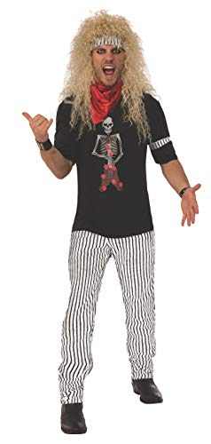 1980's Hair Band Costume for Men.  Includes shirt, zebra striped pants, red bandana, striped headband and the matching armband.