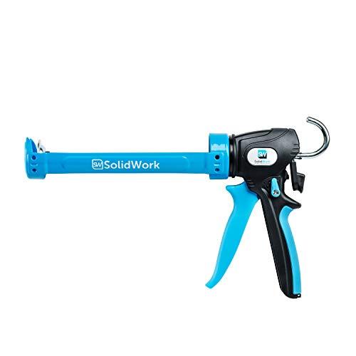 SolidWork Professional Caulking Gun with Adjustable 24:1 or 12:1 Thrust Ratio | Premium Caulk Gun for processing all 10oz Sealant & Adhesive Cartridges or Tubes | Drip-free Silicone Gun | Blue