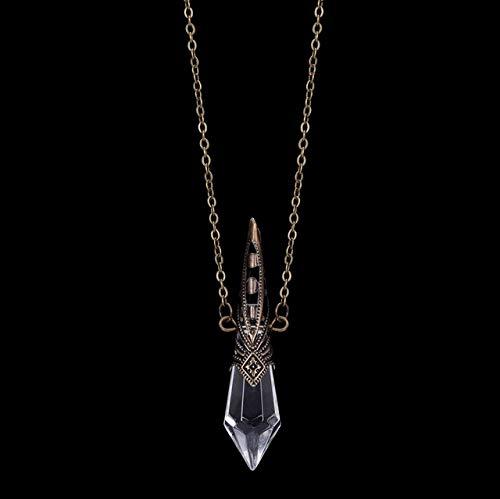 Prisma mágico - Adivinación - Collar de péndulo Colgante de Cristal de Bronce , incoloro