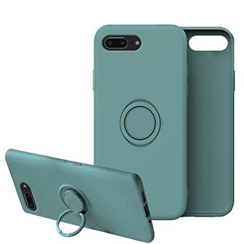 Cover Compatibile con iPhone 7 Plus Cover Silicone Liquido, Cover iPhone 7 Plus con Anello Viola, Custodia iPhone 7 Plus Case Morbido (Verde scuro, iPhone 7 Plus)