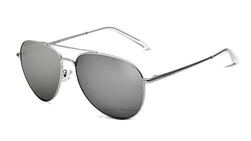 VEITHDIA Gafas de sol polarizadas deportivas para hombre, protección UV, para esquí, golf, correr, ciclismo, lentes polarizadas para hombre y mujer, con funda incluida 2736 (plateada, 59)