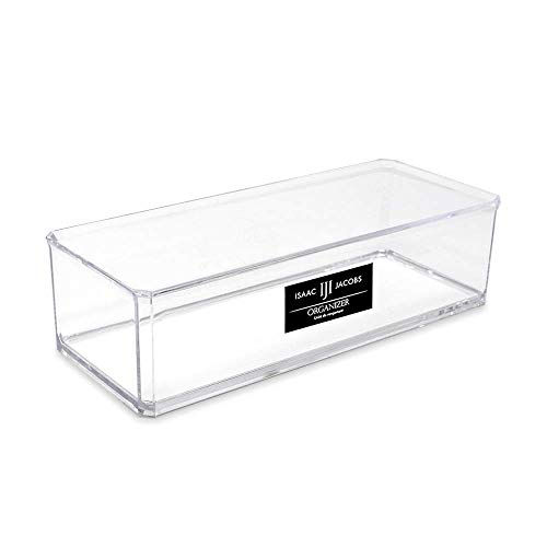 Isaac Jacobs Clear Acrylic Rectangular Stackable Storage Organizer, (9' L x 3.5' W x 2.5' H) Drawer Tray, Multi-Functional, Bathroom, Kitchen, Home, Office, Desk, Drawers