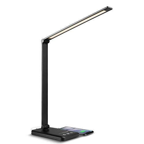 vitutech Lampada da scrivania a LED, Lampada da Tavolo Studio, Touch Control Lampada da Scrivania LED con 10 livelli di luminosità 5 modalità di illuminazione,Porta di Ricarica USB per Smartphone,Nero
