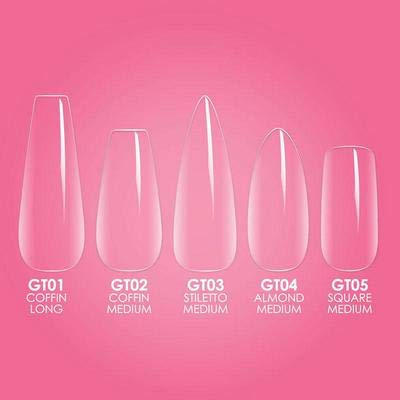Kiara Sky Gelly Tips Starter Kit. Easy to Apply and Lightweight Stick- On Nail Tips in a Starter Pack of Necessities (Long Coffin Shape).