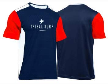 Tribal Surf Men's Rashguards Loose Fit (Choose Color & Size) (Navy Blue/Red/White, X-Small)