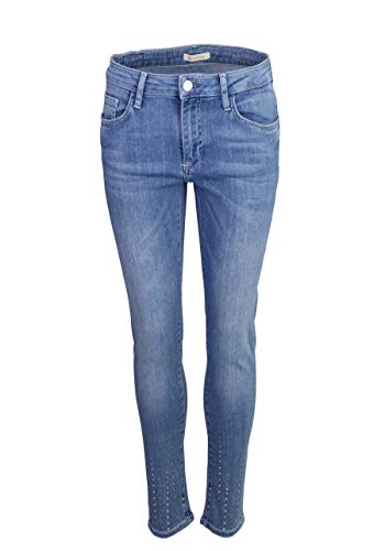 RICH&ROYAL Skinny Jeans Used 5 Pocket Strass Mittelblau Größe W30 L32