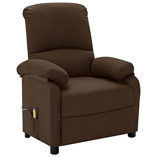 Gawany Sillón de Masaje reclinable Sillón Relax de Salón, Masaje de Vibración de 6 Puntos, Respaldo y Reposapiés Ajustable, Calentamiento Asiento de Tela marrón Oscuro
