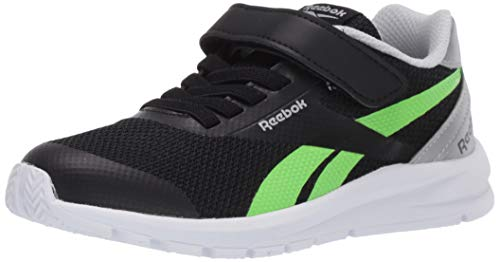 Reebok Boys Rush Runner 2.0 Running Shoe, Black/Silver Metallic/Solar Green, 13.5 M US Little Kid