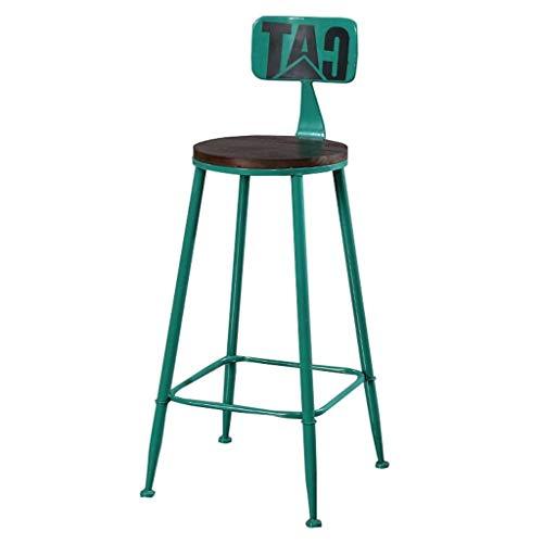 QTQZDD Vintage stoel met achtervoetkruk, houten stoel, eetkamerstoel, keukenbar, industriële barkruk, metalen poten (kleur: groen) 1 1