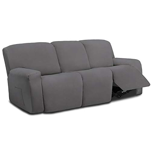 Easy-Going 8 Pieces Microfiber Stretch Sectional Recliner Sofa Slipcover Soft Fitted Fleece 3 Seats Couch Cover Washable Furniture Protector with...