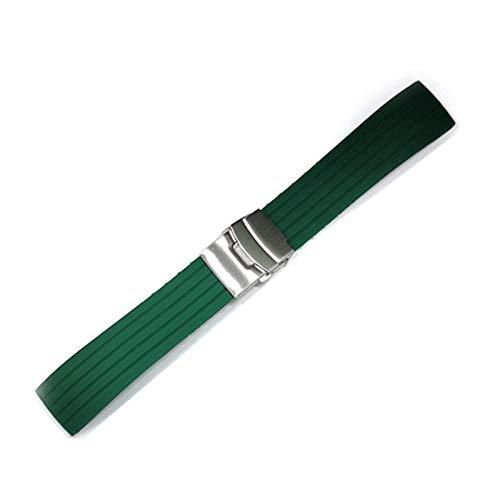 TGGFA Mesa deportiva de silicona con hebilla plegable de 18 a 24 mm de goma impermeable para hombre, accesorios de equipo de música (color de la correa: plata verde, ancho de la correa: 18 mm)
