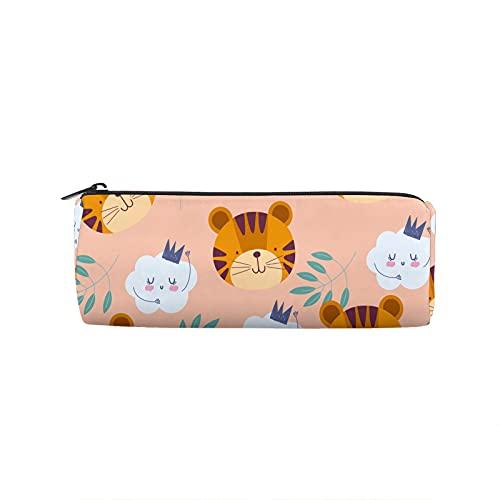 Estuche de lápices Little Tiger and Cloud Round Pen Bag Multifunción Pen Bag Estudiantes Papelería Maquillaje Bolsa Suministros de Oficina
