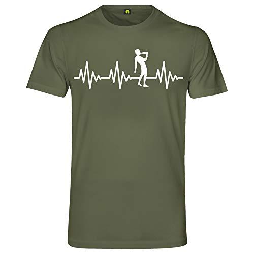 Herzschlag Saufen T-Shirt | EKG | Alkohol | Bier | Schnaps | Wein | Whisky Wodka Militär Grün 2XL