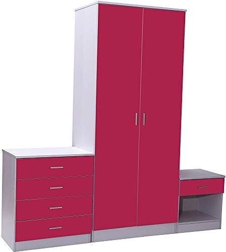 Moderne Schlafzimmer Kleiderschrank drei Sätze von Hochglanz-Schlafzimmermöbel, einschließlich Schränke und Nachttische,Red