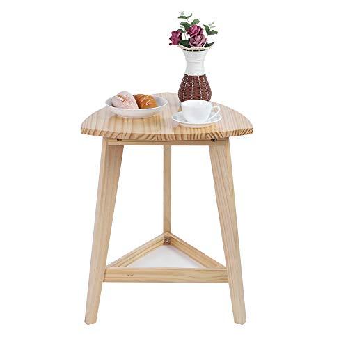 Moderner Beistelltisch Dreieckiger Beistelltisch, Eleganter hölzerner Couchtisch Dreieckiger Teetisch mit Ablagefach für Wohnzimmer Schlafzimmer 60cm