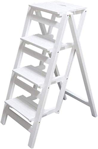 DAGCOT Taburete de Madera Escalera del Taburete Creativo e Innovador Transformación Plegable se Pliegue a la Biblioteca Pasos Escalera Plegable Silla de Oficina Uso de Cocina multifunción Natural, D