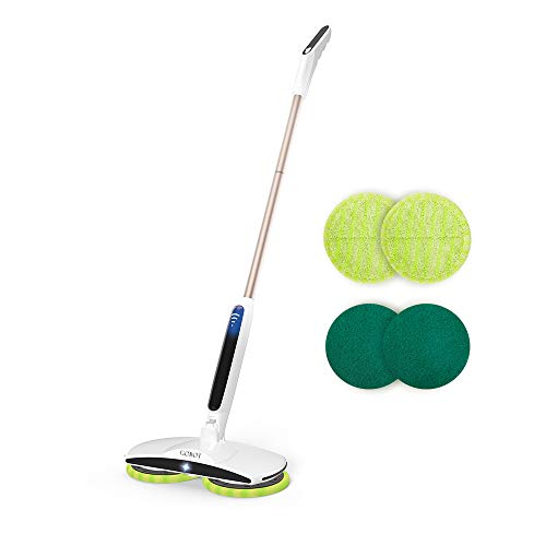 GOBOT Cordless Electric Mop Floor Scrubber for Home Kitchen Hardwood Floor Cleaner,2 Replacement Microfiber Pads and Adjustable Handle,Cleaning for Hard Wood, Laminate Floor ,Tile, Vinyl Floor Scrubber