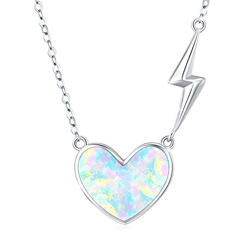 Collar con colgante de corazón de ópalo con piedra natal, plata de ley 925, collar de plata de ley con forma de corazón flotante, cadena de relámpago, regalo romántico para novia, boda para esposa
