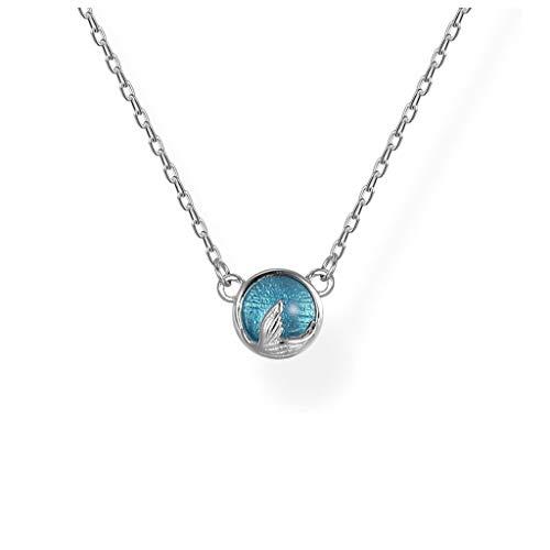 CJshop Damen Halskette Blue Ocean Fishtail Halskette 925 Sterlingsilber Mermaid Schwanz Anhänger handgefertigt Claviclekette Geburtstags-Geschenk for Freundin Ketten für Damen