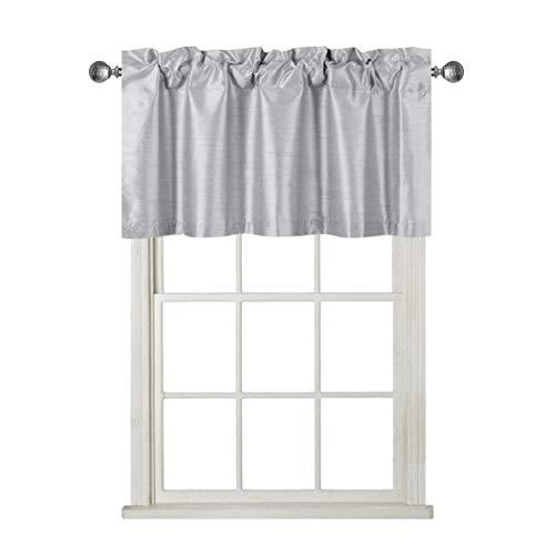 Rama Rose Faux Silk Room Darkening Curtain Valance - Window Topper for Living Room, Short Straight Drape Valance, Set of 1, 37 X 18 Inch, Gray
