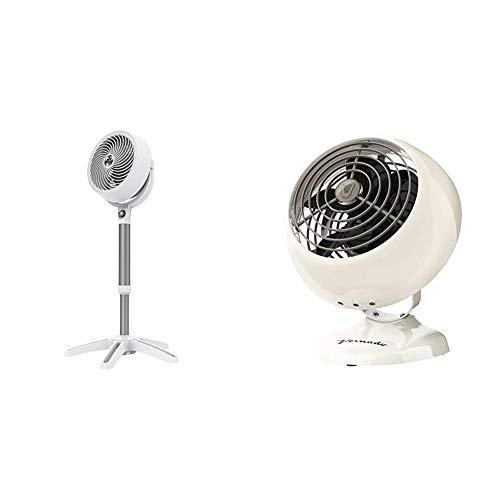 Vornado 683DC Energy Smart Medium Pedestal Air Circulator Fan with Variable Speed Control & VFAN Mini Classic Personal Vintage Air Circulator Fan, Vintage White