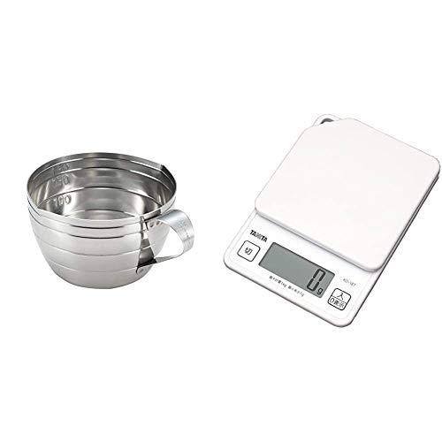 ヨシカワのいろは [セット買い] ステンレス 計量カップ 200ml YJ2771 + タニタ キッチンスケール はかり デジタル 1kg 1g単位 ホワイト KD-187 WH
