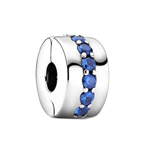 LILIANG Joyería De Bricolaje De Invierno 925 Cuentas De Plata Esterlina Azul Brillante Clip Encanto Ajuste Original Pandora Pulsera Joyería De Navidad