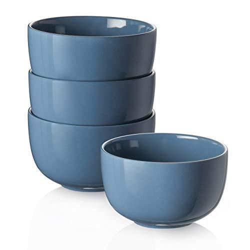 DOWAN Tiefe Suppenschalen, 30 oz Müslischale für Haferflocken, Keramik Ramenschalen für Nudeln, Porzellanschalen Set 4 für Küche, spülmaschinen- und mikrowellengeeignet, luftiges Blau