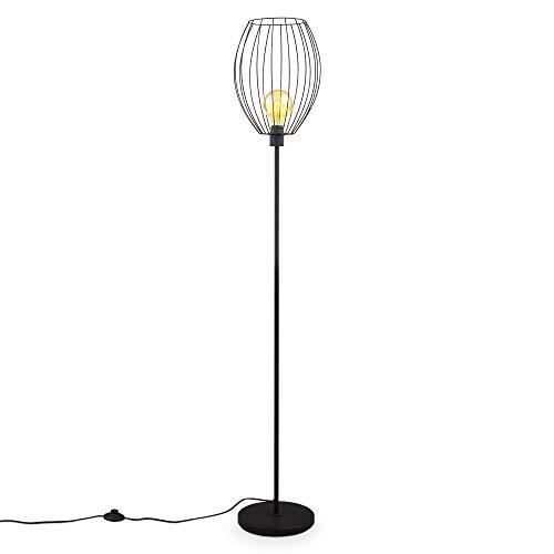 B.K.Licht Retro Lámpara de pie con pantalla I Interruptor de pedal I Altura 159,6 cm I E27 I Metal I Negro I sin bombilla
