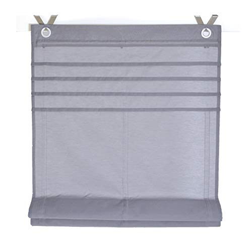 Raffrollo / Ösenrollo Kessy Biese grau 100*140 cm