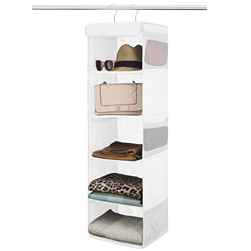 Zober 5-Shelf Hanging Closet Organizer - 6 Side Mesh Pockets Breathable Polypropylene Hanging Shelves - for Clothes Storage and Accessories, 12' x 11 ½ ' x 42' (White)