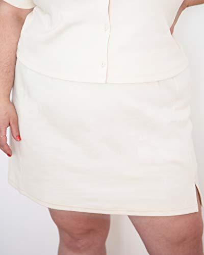 The Drop Women's Whisper White Thigh-Slit Rib Mini Skirt by @itsmekellieb