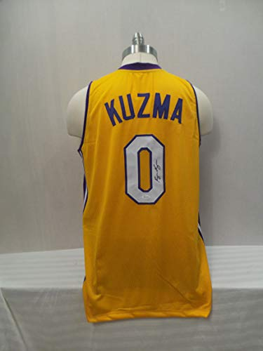 Kyle Kuzma Signed Los Angeles Lakers yellow Autographed Custom Men XL Jersey JSA