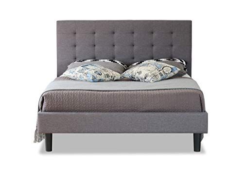 Modernique Grey Fabric Bed with Hight Headboard, 3FT, 4FT, 4FT6, 5FT, Stitching Soft Linen Wooden Frame Bed in Single, Small Double, Double, King Sized. (Small Double (4FT))