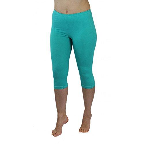 Blickdichte Leggings für Damen Capri Hose Leggins Bunt aus Baumwolle 3/4 Länge, Farbe: Mint, Größe: 44-46