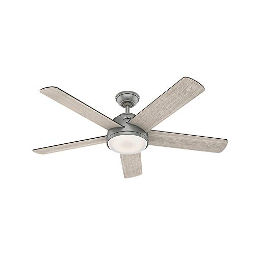 "Hunter Romulus Indoor Wi-Fi Ceiling Fan with LED Light and Remote Control, 54"", Matte Silver"