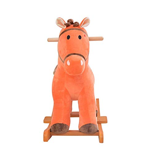 Children's rocking horse, plush wooden rocking horse,Rocking Horse with Music Function suitable for 1 year old baby, short plush rocking horse toy for infants, brown (Color : Brown)